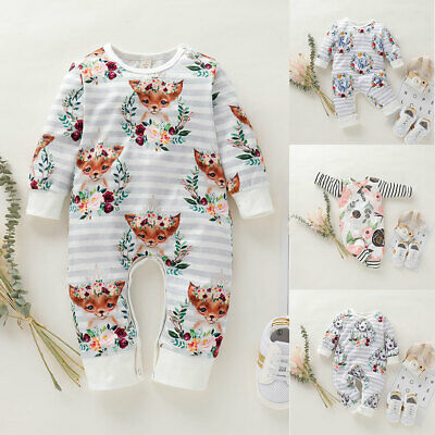 UK Toddler Baby Girl Boy Kid Cotton Long Sleeve Romper Autumn Outfit Clothes Top