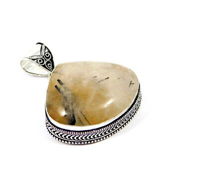 Black Needle Rutile Silver Plated Hand Carving Fashion Pendant Jewelry JC7490
