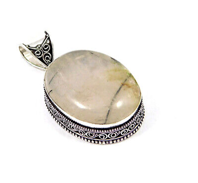 Black Needle Rutile Silver Plated Hand Carving Fashion Pendant Jewelry JC7491