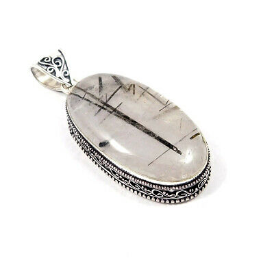Black Needle Rutile Silver Plated Hand Carving Fashion Pendant Jewelry JC7171