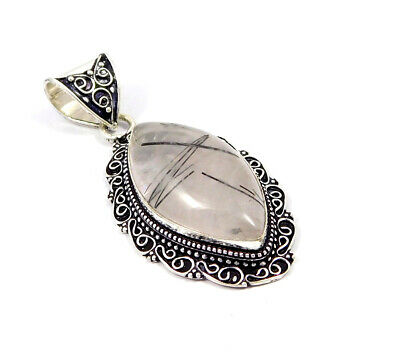 Black Needle Rutile Silver Plated Hand Carving Fashion Pendant Jewelry JC7488