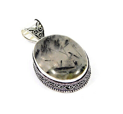Black Needle Rutile Silver Plated Hand Carving Fashion Pendant Jewelry JC7489