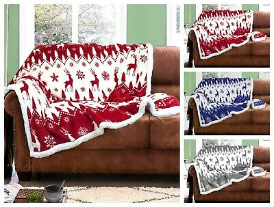 Throw Flannel Sherpa Sofa Bed Blanket