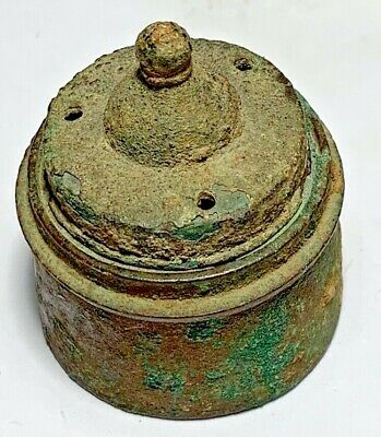 SCARCE ANCIENT GREEK BRONZE AGE BRONZE MEDICAL BOX 92.7gr 43mm