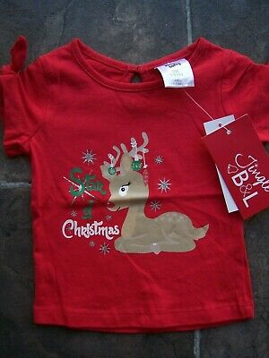 BNWT Baby Girl's Red Christmas Cotton Knit T-Shirt Size 000, 00 & 0