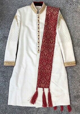 Men's/Groom's Designer Indian Asian Wedding Sherwani Suit Ivory With Gold Finish