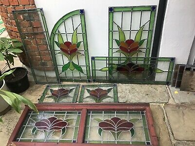 Period Stained Glass Leaded Windows X8 Vintage Old Interior Design