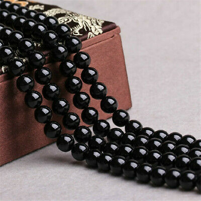 6mm Obsidian Loose Beads Making Jewelry 1PCS 15 inches Natural Charm Lots