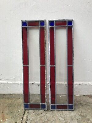 Period Stained Glass Leaded Windows X2 Vintage Old Interior Design