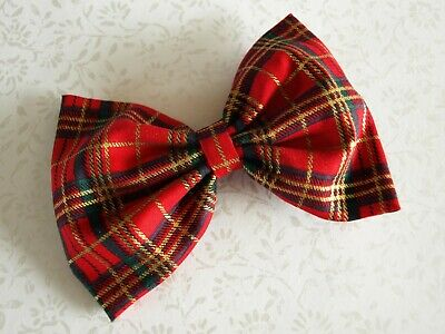 Girls Red Gold Tartan Fabric Hair Bows - Christmas Handmade Hair Bow Clip