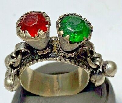 LATE MEDIEVAL SILVERED RING WITH RARE 2 STONES 7.3gr 33mm (inner 20mm)