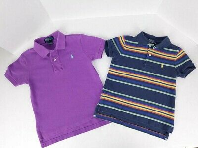 RALPH LAUREN POLO SHIRTS 3T LOT OF 2 GUC bundle toddler purple & multi stripes