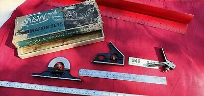 """Vintage Moore & Wright - No.990P - 12"""" Engineers Combination Square Set Boxed"""
