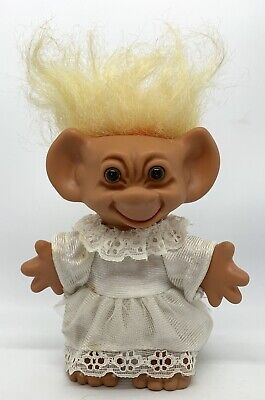 "Vintage Uneeda Doll Troll 6"" Bride Figure In Wedding Dress Toy Like DAM & Russ"