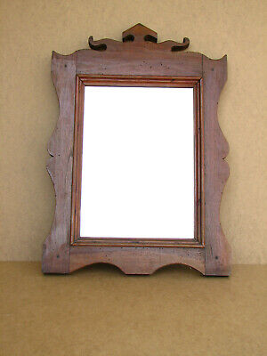 Old Antique Primitive Wooden Wood Wall Hanger Mirror Frame Vanity Early 20th