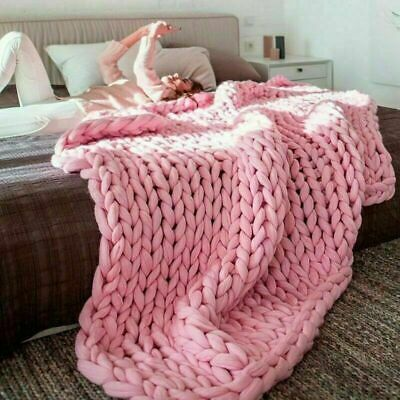 Blanket Handwork Knitted Winter Chunky Knit Bed Throw Heavy Thick Line Yarn Soft
