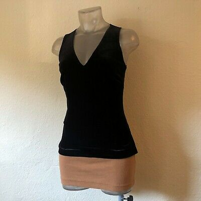 Vintage 90s CACHE Black Velvet Top w Sheer Mesh Back S Beautiful SEXY Gold Label