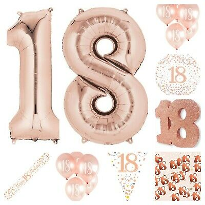 18th Rose Gold Happy Birthday Bunting Banner Balloons Decoration Confetti etc