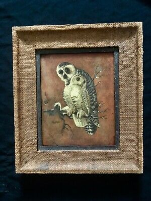 Antique oil painting 'Owls' created in 1900 - 1930th  portly framed beautiful
