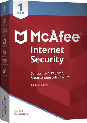 McAfee Internet Security 2019 1 Gerät 5 Jahre Vollversion ESD Sofortversand