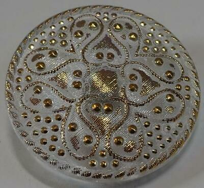 Lovely vintage clear glass button with gold accents