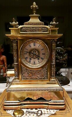 LARGE 19thC FRENCH CLOCK  Brass 8 day