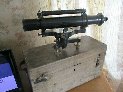 antique T-COOKE&SONS LTD BLACK LACQUER AND BRASS THEODOLITE STAMPED COOKES