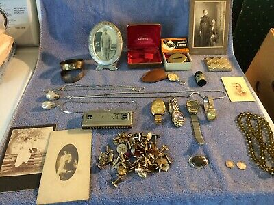 Old junk drawer lot coins jewelry harmonica photo watch cuff links compass mason