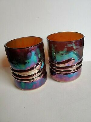 Vintage Unique 2 Esteban Prieto Signed Hand Blown Iridescent Glass Tumblers sexy
