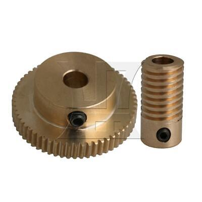 1:60 0.5-mode 60Teeth Brass Worm Gear & Shaft Reducer for Industrial 5mm