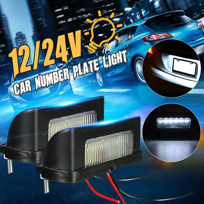 2x 12V 24V Rear Tail LED Licence Number Plate Light Lamp Truck Trailer Lorry RV