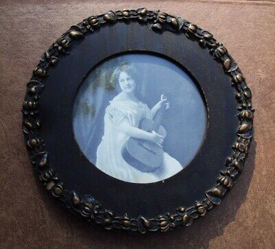 Antique Primitive Round Wood Frame with Old Country Music Picture