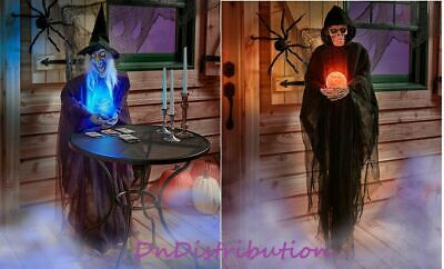 """Life-Size Psychic Creature Witch or Reaper Color Changing Crystal Ball 60"""" Tall"""