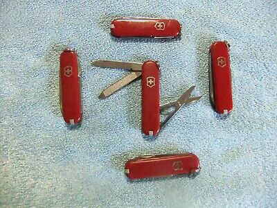 Victorinox Swiss Army Knives Classic SD Lot of 5 with Traditional Red Scales