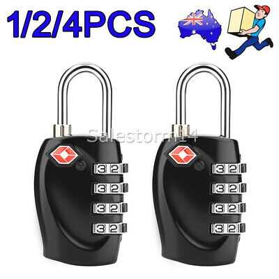 1/2/4x TSA Combination Approved 4 Dial Suitcase Security Padlock Travel Lock