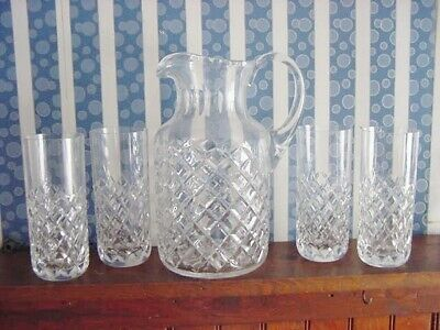 5 pcs CESKA CZECH CANTERBURY DIAMOND PATTERN LEAD CRYSTAL Pitcher 4 Glasses