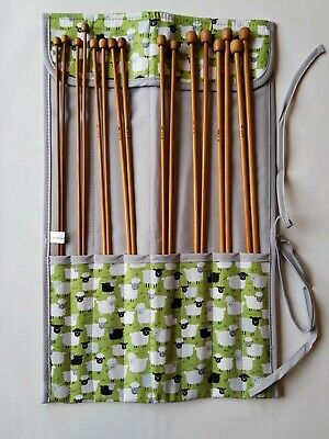 Knitting Needles with Storage Case in Green Sheep Design 668KB