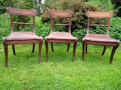 3 Antique Victorian Mahogany Bar Back Dining Chairs for restoration or parts