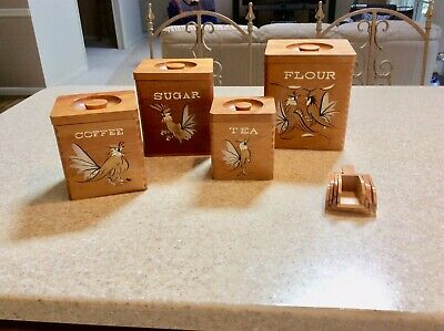 Vtg Mid Century Modern Canister Set Fighting Rooster Hand Painted w/ Rare Scoops