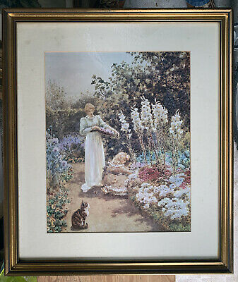 Large old coloured print 'Lillies and Sweet Williams' by Wainwright