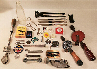 Vintage Junk Drawer Lot Tools Coca Cola Zippo Key Chains Military Token Openers