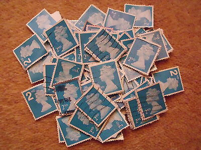 100 x 2nd - Second Class; GB Blue -  Machin Definitive Stamps QE11 used