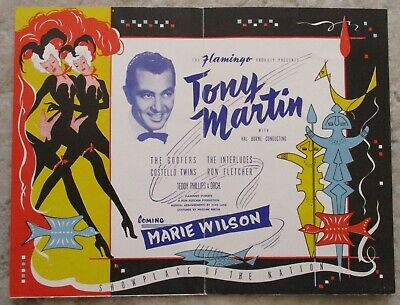 Original The Flamingo Hotel  Las Vegas Stage Bill/Flyer featuring Tony Martin