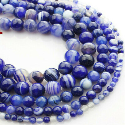 Natural Blue Striped Agate Loose Beads Making Jewelry 15 inches Shining Diy