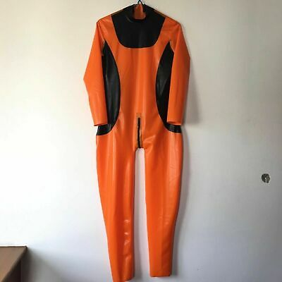 Latex Anzug Kostüm Rubber Catsuit Suit Black with Orange suit Unisex Size S-XXL