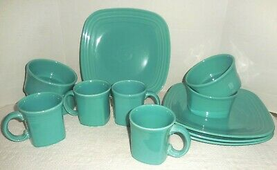 12 Piece Homer Laughlin Fiesta Turquoise Square Dinner Plates, Bowls & Mugs