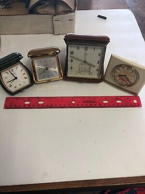 Group Of 4 Travel Alarm Clock Made In Swiss,germany Or USA