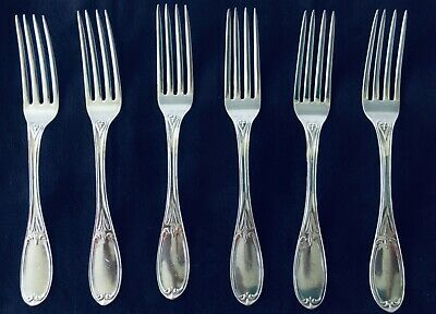 Thomas Goldsmith Set of 6 Coin Silver Forks American Antique 1850 Free Shipping
