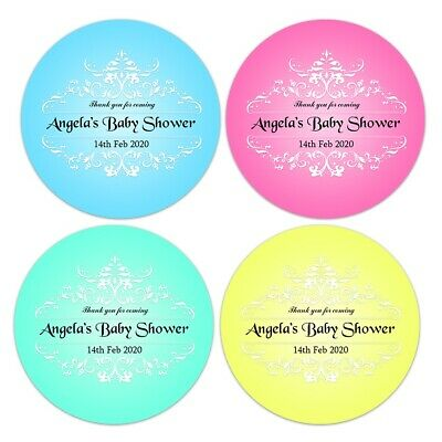 48 x BABY SHOWER PERSONALISED ROUND STICKERS LABELS THANK YOU PARTY FAVOURS