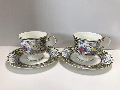 "Set Of 2 Mikasa Tea Cups And Saucers 6.5"" Satsuma Branch A6403 Brand New"